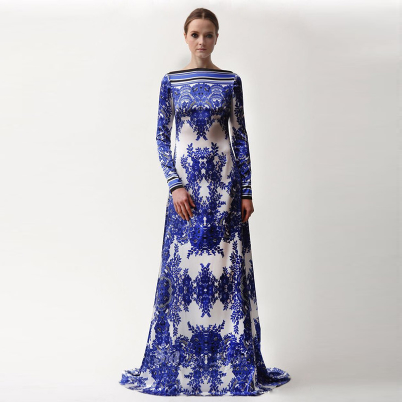 cb70a4c883bb 2017 Designer Maxi Dress Women s Long Sleeve Gorgeous Blue White Flower  Porcelain Printed Celebrity Full Long Dress