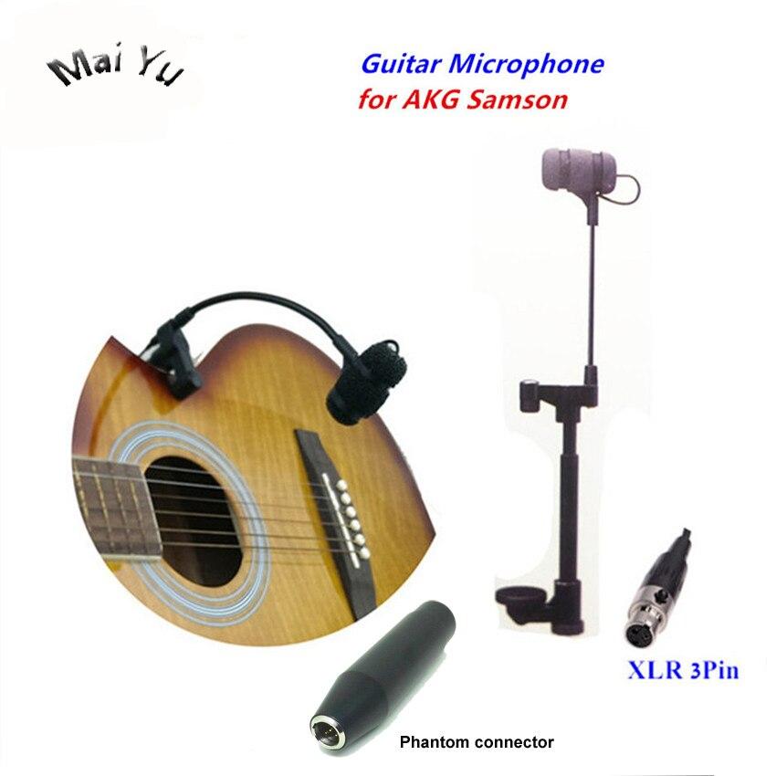 Professional Instruments Guitar Microphone Gooseneck Microfone for AKG Samson Wirelss System XLR Mini 3Pin Phantom Connector цена