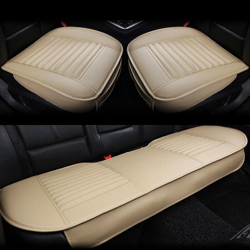 3 шт./компл. коврик бамбуковый уголь заполненный PU кожаный сиденье автомобиля чехлы черное универсальное сиденье для стайлинга автомобиля Защитные подушки - 5