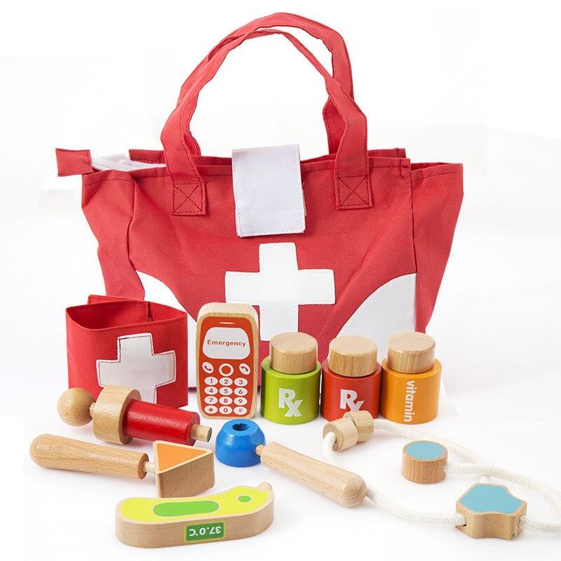 Boîte à médicaments en bois enfants médecin ensembles de jeux garçons et filles bébé maison infirmière injecter outil de jeu meilleur cadeau pour les enfants