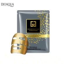 Bioaqua 5pcs Gold Facial Mask BLACK Essence Hyaluronic Acid Gel Anti Aging Wrinkle Hydrating Moisturizing Skin Care For Face