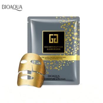 Bioaqua 5pcs Gold Facial Mask BLACK Essence Hyaluronic Acid Gel Anti Aging Wrinkle Hydrating Moisturizing Skin Care For Face цена 2017