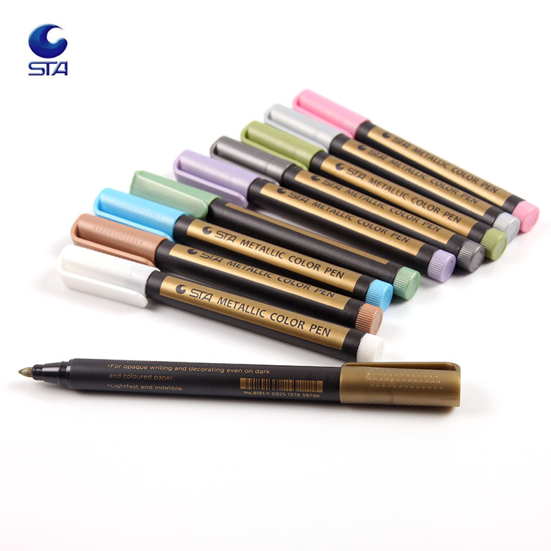 STA 10 Colors Metallic Marker Pens For Rock Painting Medium Point Metallic Color Markers For Ceramic Glass Plastic Scrapbookin