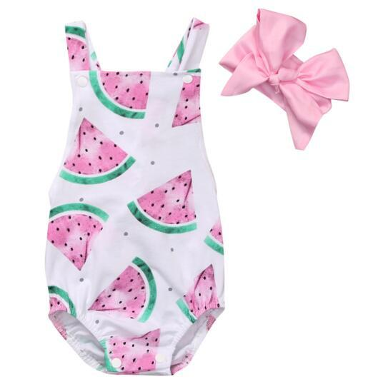 ab6b8a4d5 2018 Summer Baby Girls Clothes Sleeveless Watermelon Infant baby Romper  Backless Jumpsuit +Headband 2pcs Toddler Outfit Sunsuit