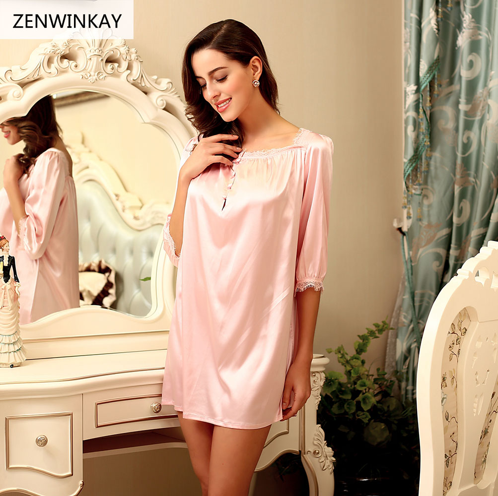 2017 Summer Slash Neck Princess Nighty Pink Silk Nightdress for Women Sleepwear Silk Nightwear Dress Sexy   Nightgown     Sleepshirts