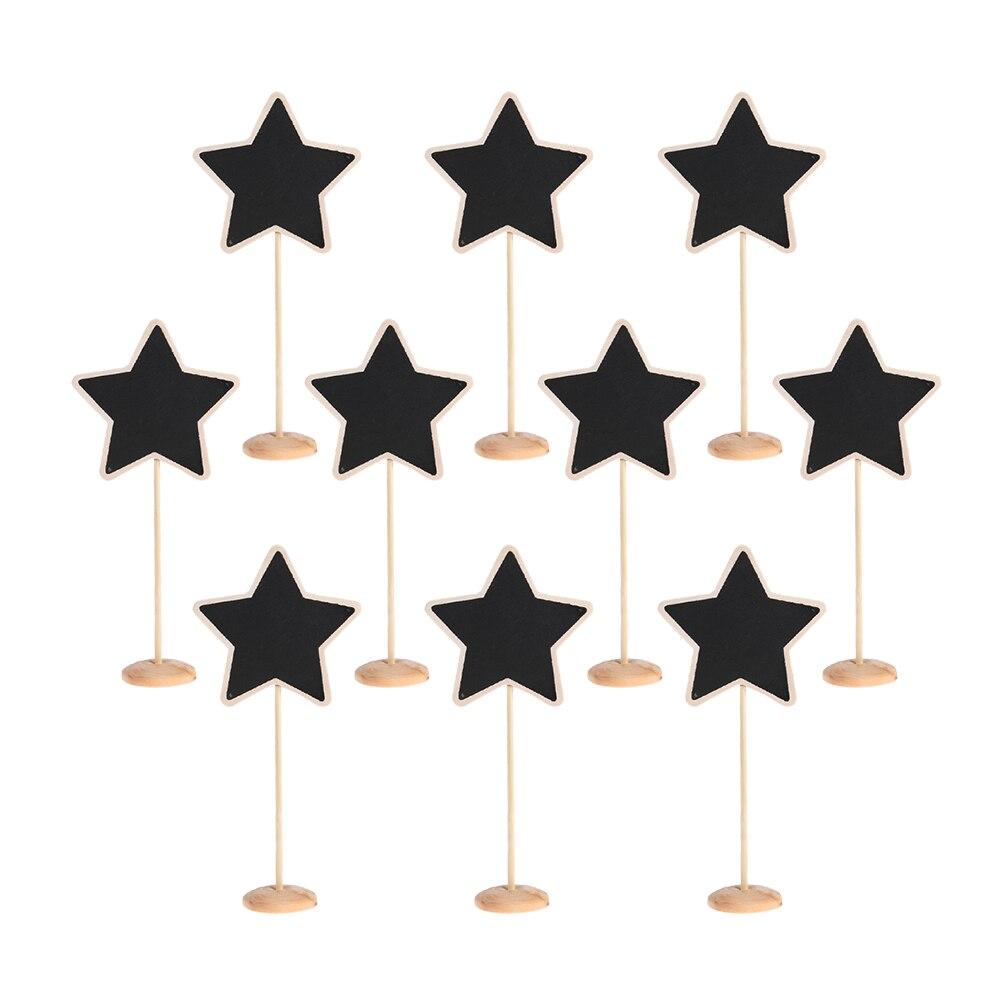 10Pcs/Set Mini Wooden Stars Shape Blackboard Chalkboard Stands Message Board creative wedding Party Table Card Decor ...