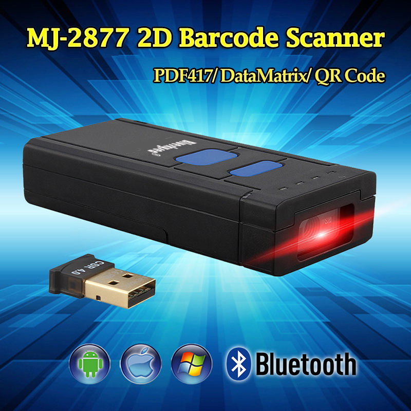 MJ-2877 Mini Portable Bluetooth Wireless 2D QR Barcode Scanner Scan PDF417 DataMatrix 2D Barcode Android Pocket Scanner QR caribe pl 40l ip65 rugged industrial mobile bluetooth pda 1d barcode scanner android 5 1