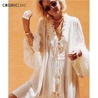 Cosmicchic модные летние Для женщин Длинная блузка кружева Фонари рукавом Глубокий V шеи стекались точка Шифоновая блузка взлетно посадочной по