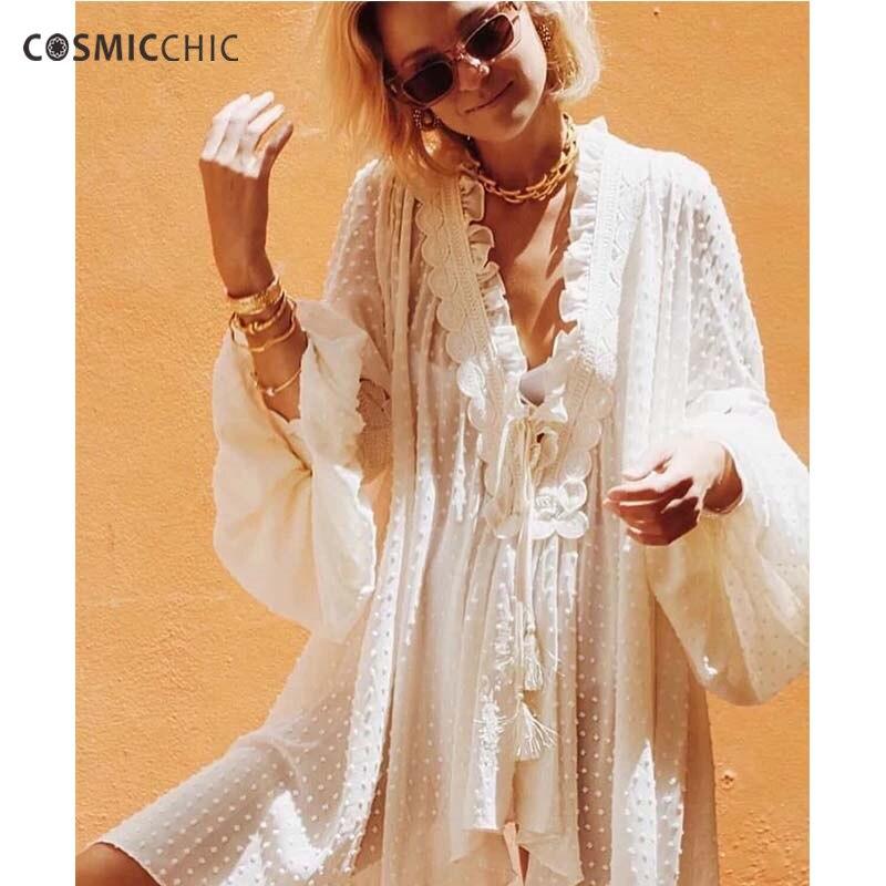Cosmicchic Fashion Summer Women Long Blouse Lace Lantern Sleeve Deep V Neck Flocked Dot Chiffon Blouse Runway Beach Loose Top coromose® women v neck chiffon long sleeve shirt blouse