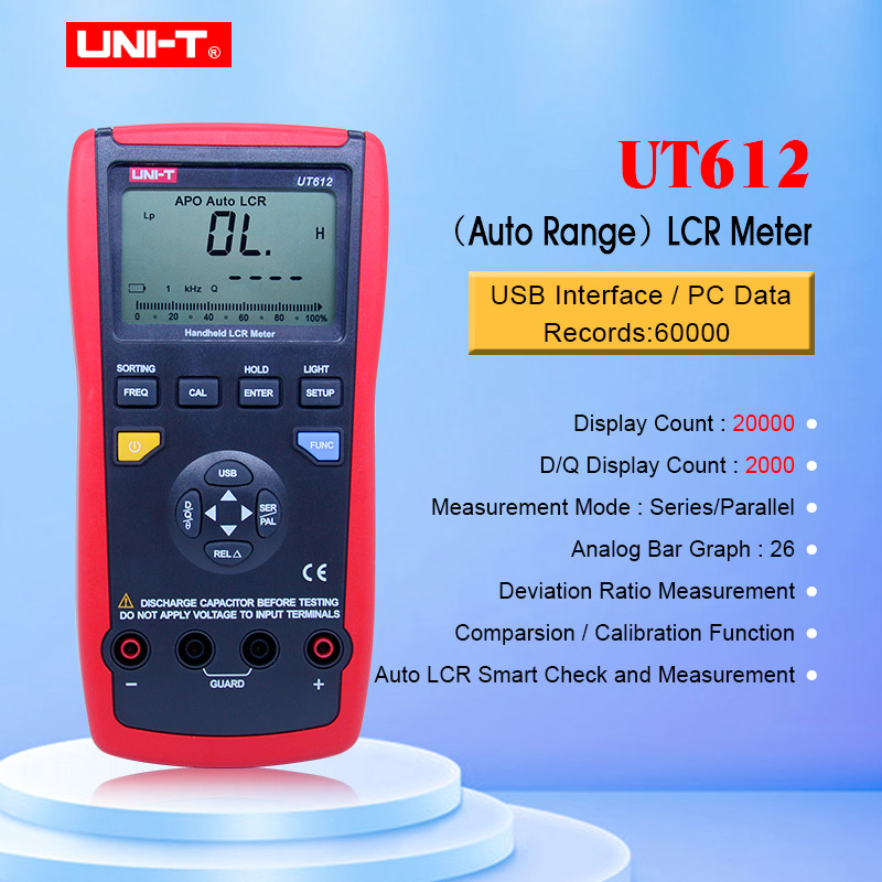 UNIT UT611 UT612 Capacitance meter LCR Meter 20000 discount insolution resistance meter with LCD backlight display