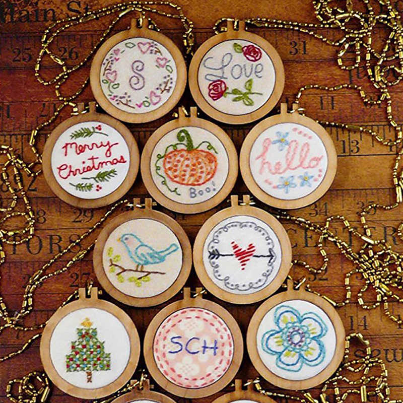 2019 Mini Embroidery Hoop Wooden Embroidery Frame Small Hand Stitching Hoop Cross Framing Hoop Wood Earring DIY Gift