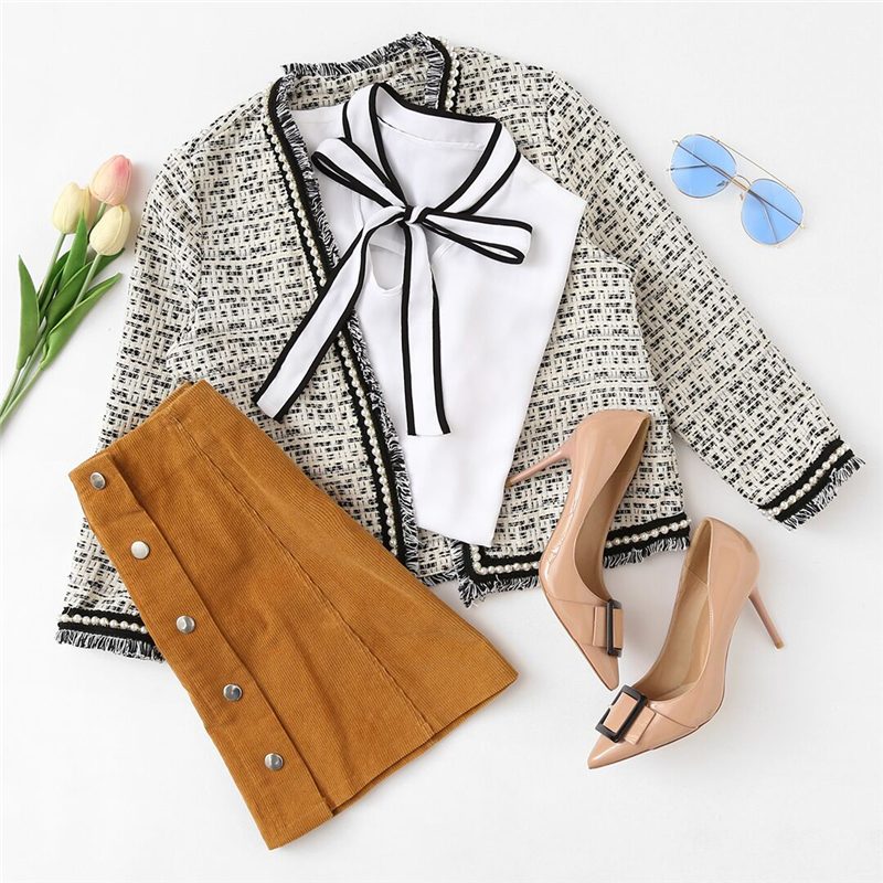 d692f689c0 ... HTB1YJgviZnI8KJjSspeq6AwIpXa6 - SHEIN Brand Women's Stylish Pearl  Beaded Frayed Edge Collarless Tweed Blazer
