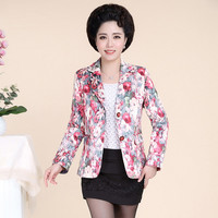 Middle Aged Ladies Blazer Floral Print Spring Autumn Jackets Single Breasted Blazer Feminino Small Suit Jacket
