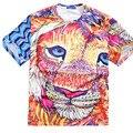 Russia USA Loose Graffiti Print Colorful  Lion Head Summer XL~6XL MenT-shirt Oversize Short Sleeve Top Lycra Cotton Streewear