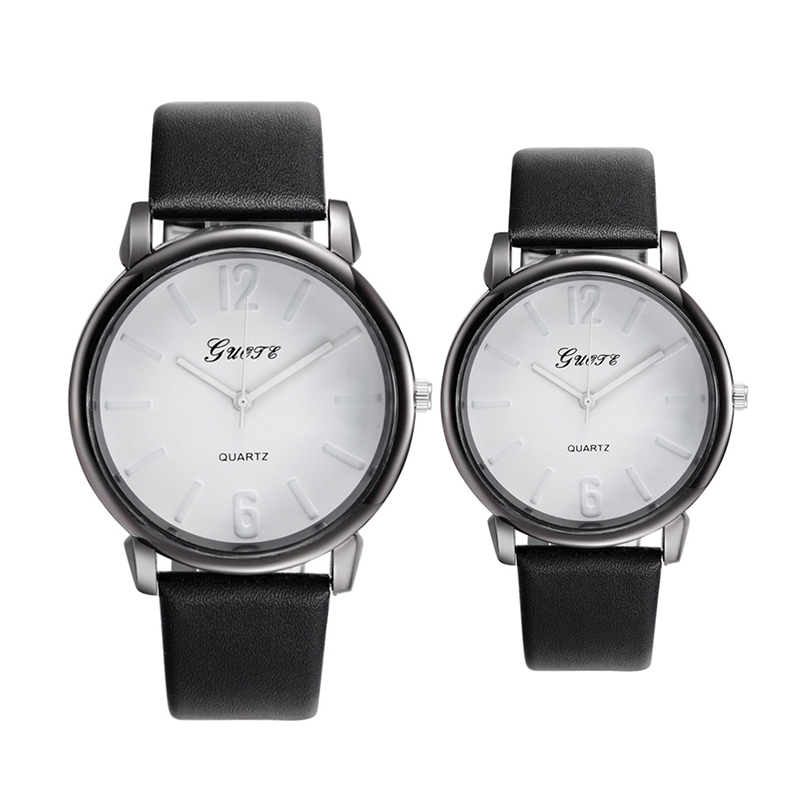 2Pcs Couple Watch Round Dial All Match Fashion Fine Watch Accessory 0136