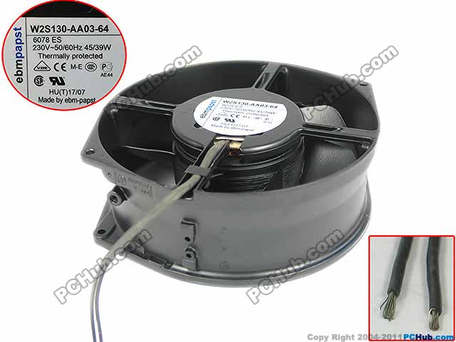 ebmpapst W2S130-AA03-64 Server Round Fan AC 230V 45W 172x150x55mm 2-wire free shipping emacro fujitsu uf 15kmr23 bwhf ac 23v 45w 2 wire 110mm 172x150x55mm server round cooling fan