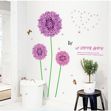 Can remove the wall stickers Red dandelion romantic warmth of bedroom head a bed Creative rural flower s
