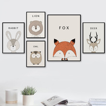 Fox Rabbit Deer Lion Owl Wall Art Canvas Painting Cartoon Nordic Posters And Prints Pictures For Kids Room Baby Decor
