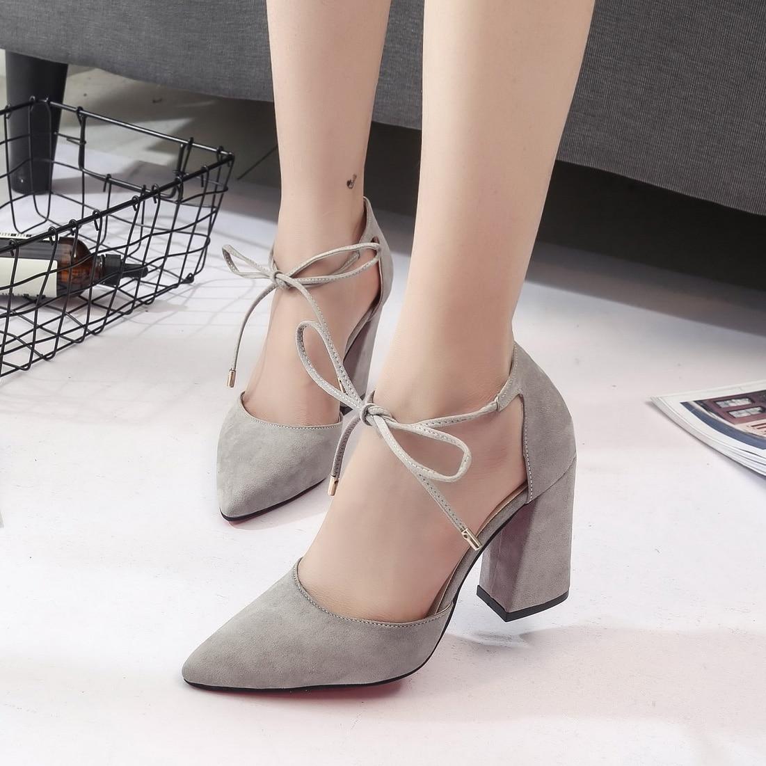 Negro Bombas Ate Vestir Verano gris Grueso Los 2017 Sexy Tacón 9 Zapatos Mujer Correa A084 De Tobillo Cm rosado Negro Arriba Alto Para n81TpU1XW