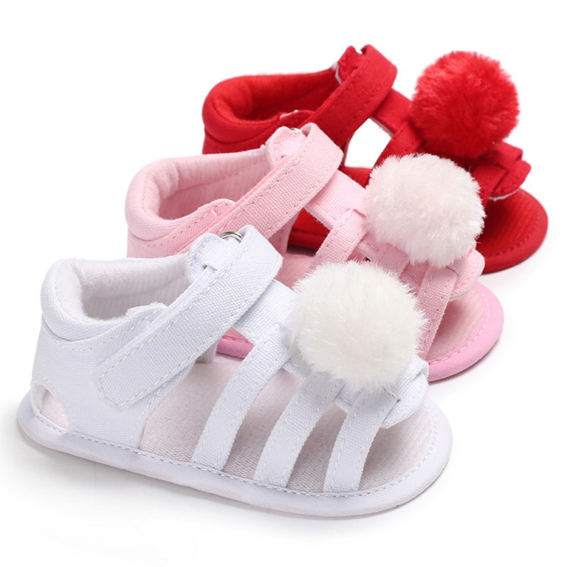 Infant Baby Girls Shoes Summer Fur Ball Nonslip Prewalkers Crib Shoes Soft Soled Baby Girls Princess Shoes Sandals New