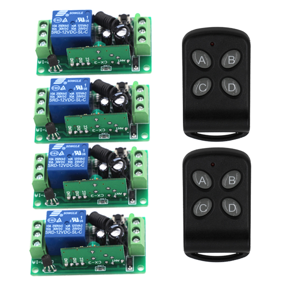 Best Promotion for DC 12V 10A 1CH Wireless RF Remote Control Switch 2 Transmitter 4 Receiver 3 Working Modes Self-locking 3424 2 working ways rf wireless intelligent