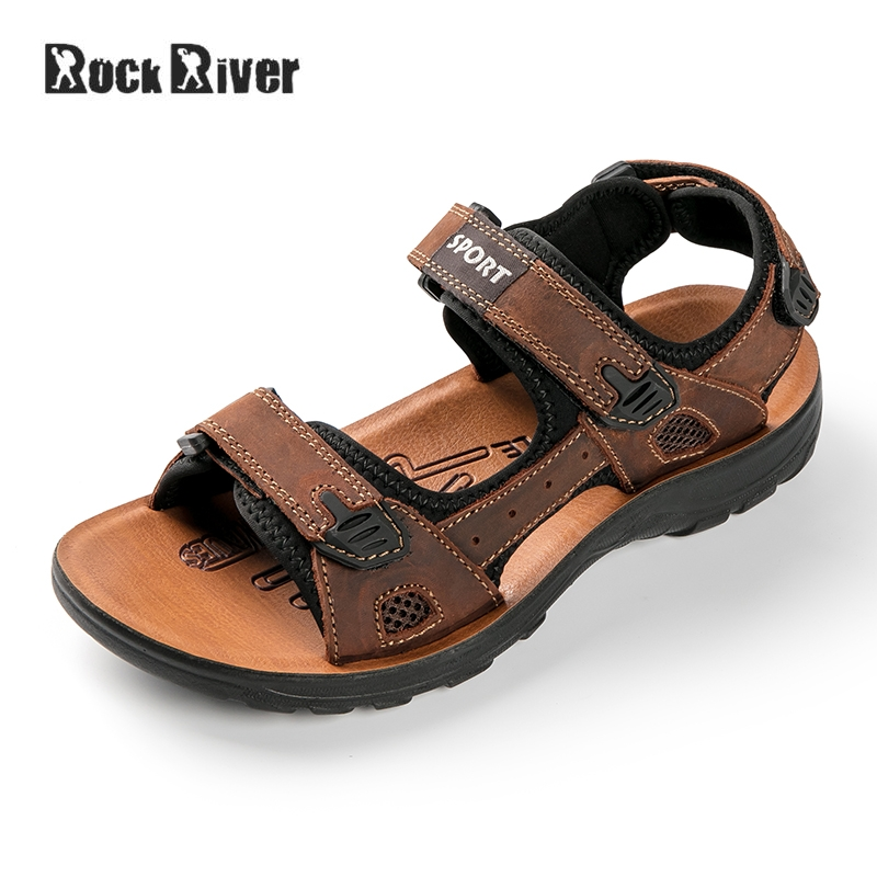 2018 Genuine Leather Sandals Men Breathable Mens Sandals Summer Casual Outdoor Beach Sandals Gladiator High Quality Rubber Sole
