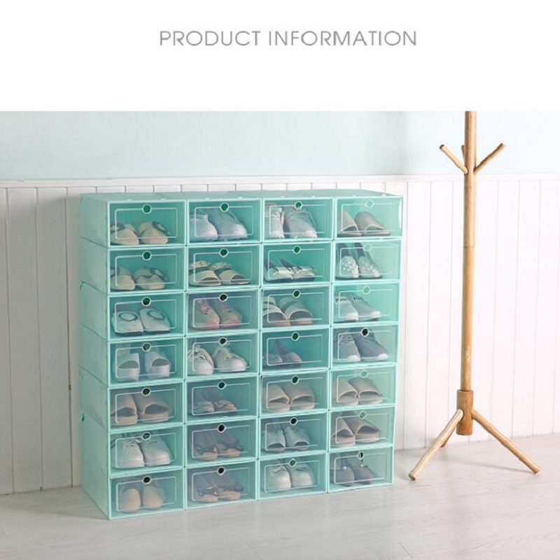 6pcs bag Top Quality More Colors Transparent Plastic shoe box Shoe storage Artifact Japanese shoe Flip drawer Box in Storage Drawers from Home Garden