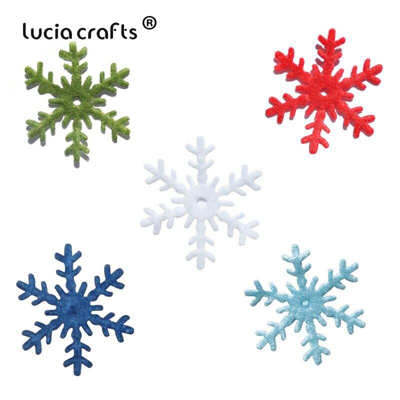 Lucia crafts 48 шт/144 шт 3 см Снежинка украшение для рождественской елки/окна DIY украшения Ассорти нетканый мотив Войлок B1301