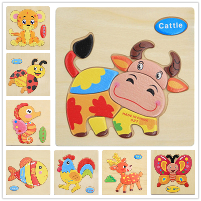 Retail stereoscopic animals wooden puzzle baby educational toys games picture jigsaw puzzles birthday gifts toys for children 1pcs colorful kid wooden animals cartoon picture puzzle kids baby educational toys train children newborn early development