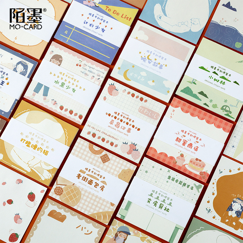 30 Sheets/pack Kawaii Coffee Fruits Memo Pad Planner Label Removable Paper Stickers Message Sticky Notes Stationery Sticker