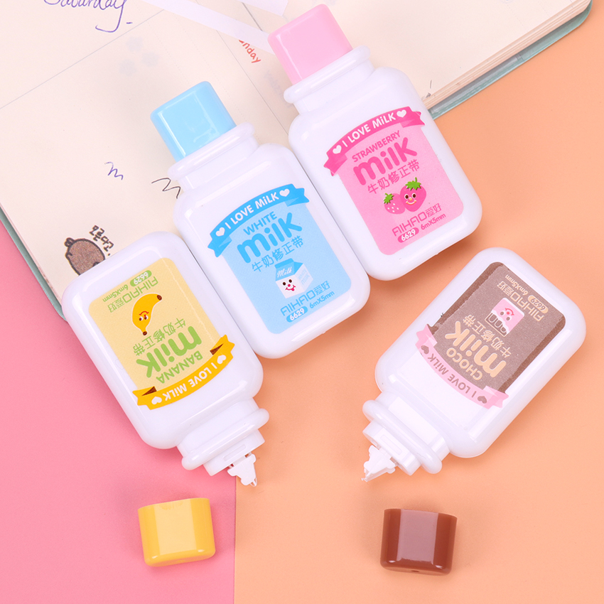 1PC Cute Milky Correction Tape Material Escolar Kawaii Stationery Office School Supplies Papelaria in Correction Tapes from Office School Supplies