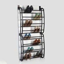 Стеллаж для обуви, 12 слоев, 12 пар, висящий над дверью, органайзер для шкафа, портативный, многофункциональный, PP пластик, спрей, железная труба