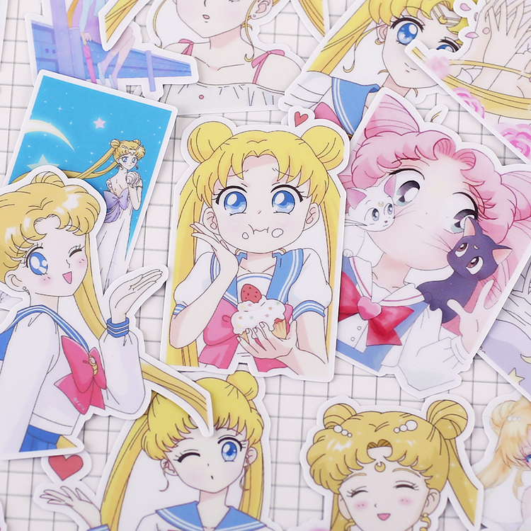 21pcs/ Pack Creative Cute Self-made Sailor Moon 4  Scrapbooking Stickers /Decorative Sticker /DIY Craft Photo Albums