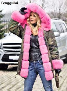 Image 5 - Bontjas Europese Amerikaanse Lange Hoed Camouflage Jas Herfst Winter Mode Stijl Nieuwe Temperament Jacket Slim Warm vrouwen Jas