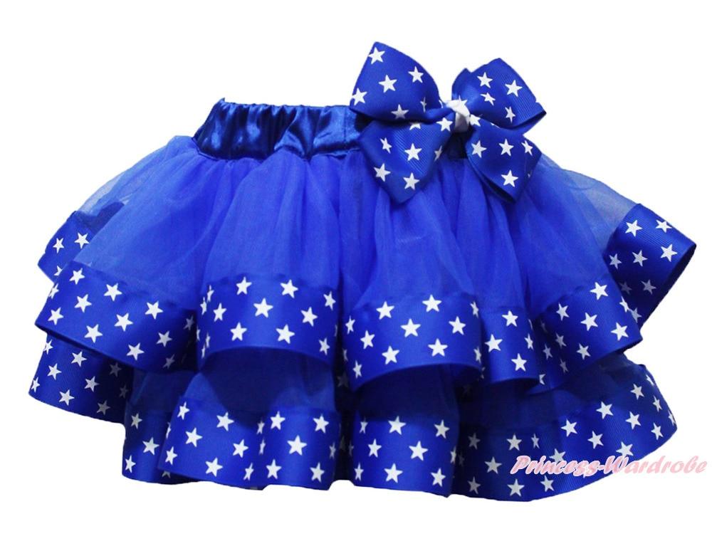 4th July Patriotic Star Red White Dot Satin Trim Baby Girl Skirt Nb-8y