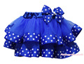 4th July USA Patriotic Star Blue Satin Trimmed Tutu Baby Girls Pettiskirt NB-8Y MADRE0072