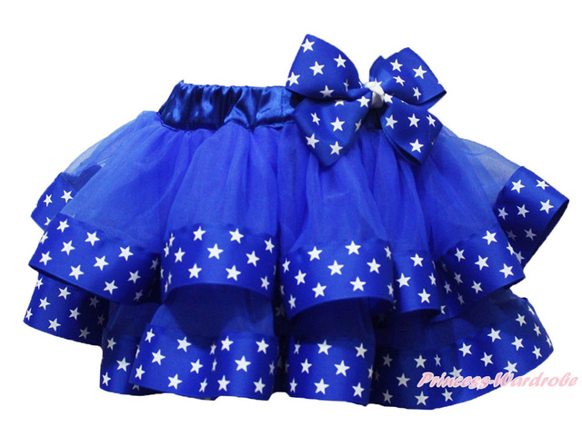 4th July USA Patriotic Star Blue Satin Trimmed Tutu Baby Girls Pettiskirt NB-8Y MADRE0072