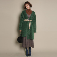 Green Cardigan Women Winter Full Sleeves With Fur Long Cardigans Poncho Womens Knitwear 2017