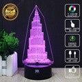 Burj Khalifa Tower Lámpara Autos Motos Luchadores 3D Lámpara LED novelty luz niño luces de la noche del usb del regalo de cumpleaños hui yuan marca