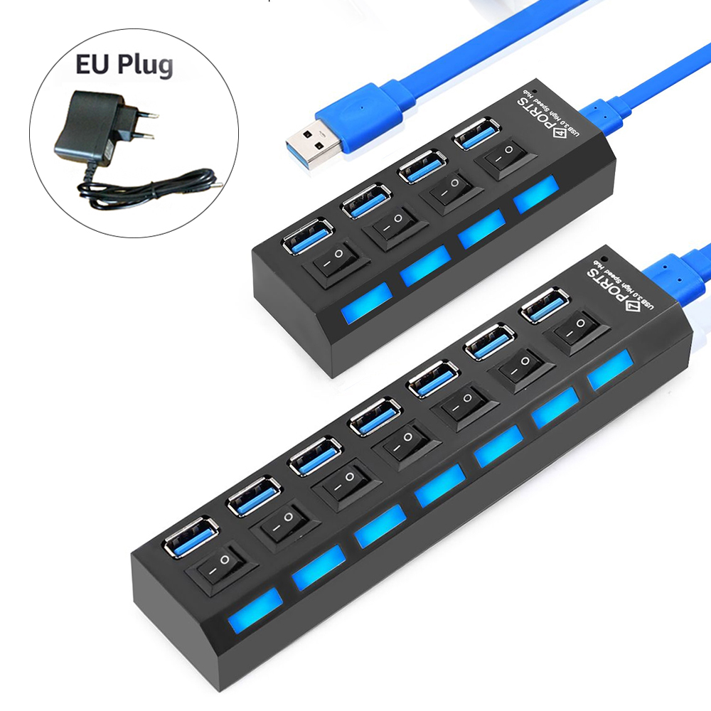 IMice Usb Hub 3.0 With Power Adapter 4 Port USB 3.0 Hub Super Speed USB Splitter 7 Ports ON/OFF Switch For Pc Laptop