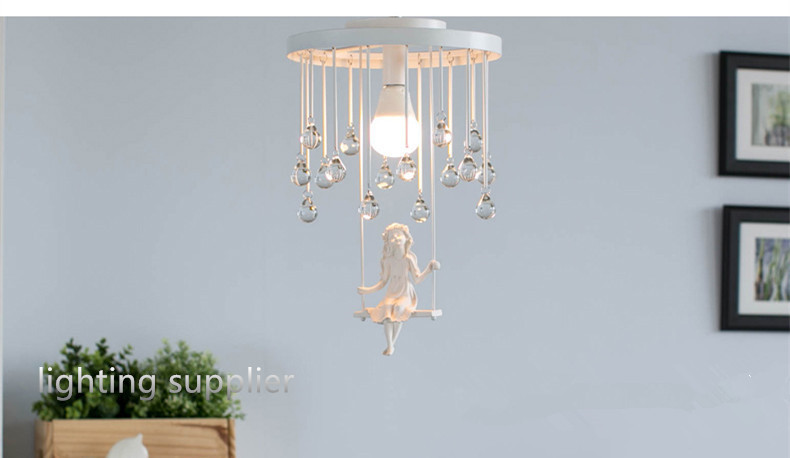 New Modern Pendant Lamp Art Deco Swing Angel Girl LED Pendant Light / Lighting Fixture Lusters black white color for sale