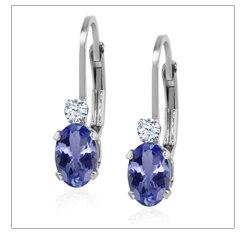 137e2b3fbc15 Orgullo de encargo hecho en ee.uu. 1.76 ct natural azul tanzanita sólida  plata de ley 925 pendientes de gota de plata para las mujeres gemstoneking  ...