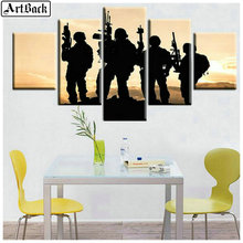 Hot 5 fight 5d diamond painting soldier picture for living room decoration full square drill mosaic 3d embroidery kit