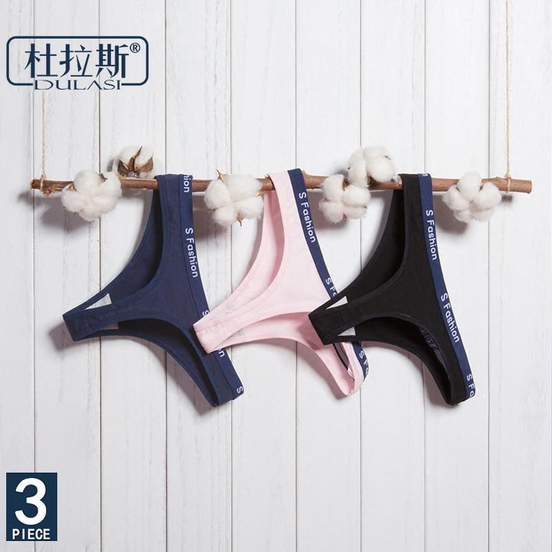 02f94689c Algodão Sexy G-corda Calcinhas Mulheres Underwear Low-Rise Cintura T-voltar  Para As Mulheres Macio Senhora Lingeries DULASI 3 pçs lote Cuecas