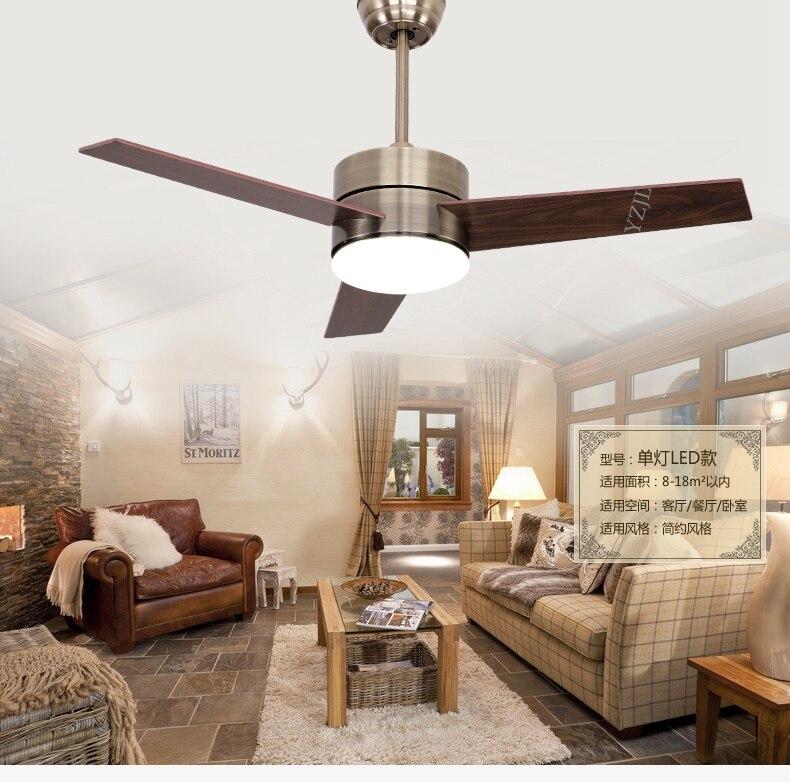 Bronze Glass Shade Ceiling Fan Lights LED Light Minimalism Modern 48inch