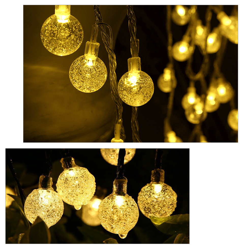 Solar LED String Lights Garland Outdoor 3050 LED Ball Hollow Christmas Trees Garden Party Decor String Fairy Light Ball Chain (11)