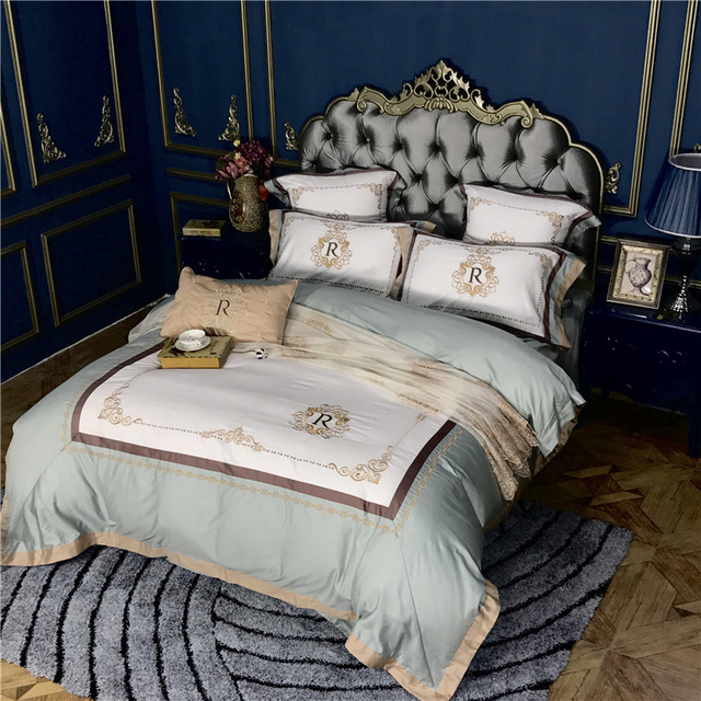 IvaRose New Embroidery Bedding Set Green Duvet Cover Sets Bed Sheets  Pillowcases Queen King Size Bedroom