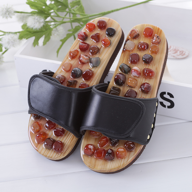 Agate Stone Foot Massage Slippers Reflexology Health Acupuncture Health Shoes Slipper Healthy Massager Pebble Feet Elderly Care foot shaped foot callouses removal natural pumice stone small