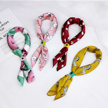 Female Square Scarf Hair Tie Band Women Elegant Small Vintage Skinny Geometric Printing Head Neck Silk For