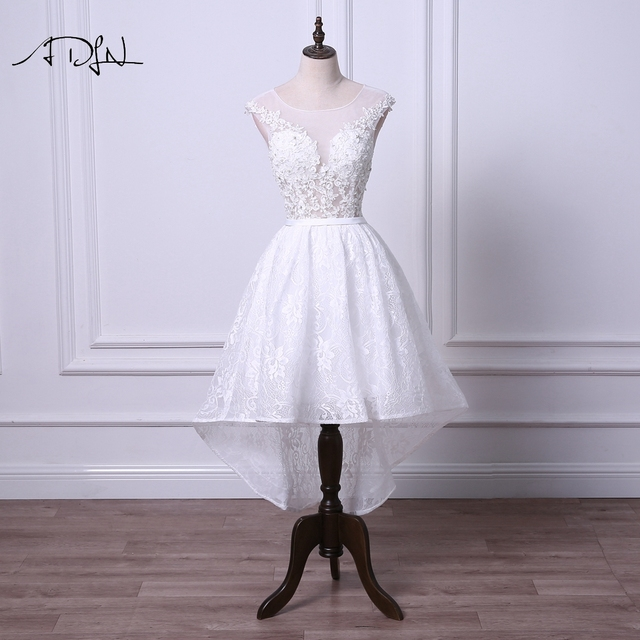 Adln Y Illusion Bodice High Low Wedding Dresses Short Reception Dress Scoop Bridal Gown Robe